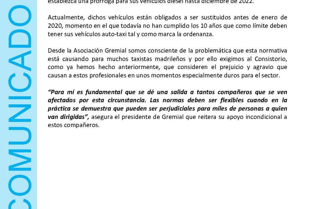 AGATM MUESTRA SU APOYO A LOS COMPAÑEROS DE LA PLATAFORMA AFECTADOS DIÉSEL EURO 5 TAXI