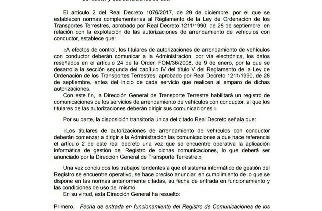EL REGISTRO DE VTC ENTRA EN VIGOR EL 1 DE ABRIL