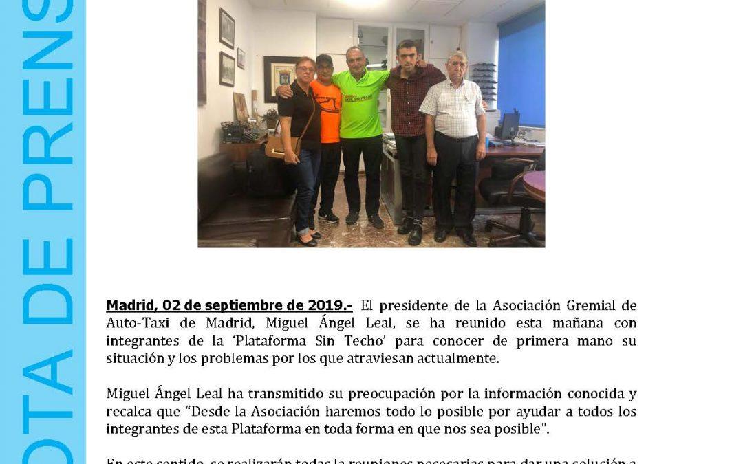 LA ASOCIACIÓN GREMIAL DE AUTO-TAXI DE MADRID SE REUNE CON INTEGRANTES DE LA 'PLATAFORMA SIN TECHO'