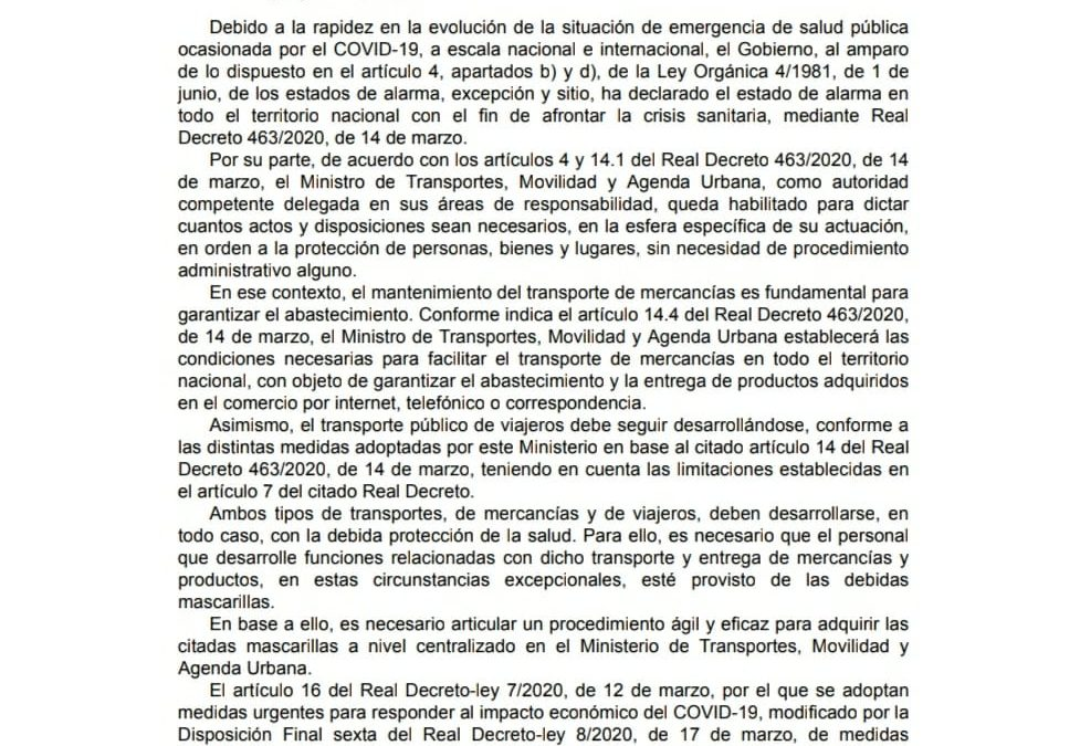 EL GOBIERNO ANUNCIA EL REPARTO DE MASCARILLAS PARA EL SECTOR DEL TAXI