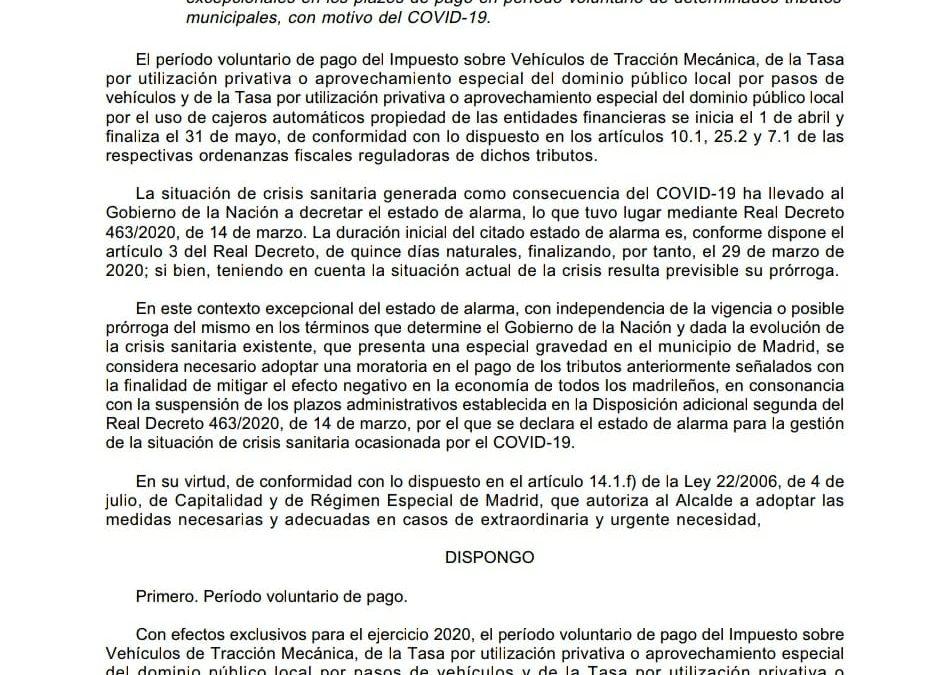 MEDIDAS EXCEPCIONALES EN LOS PLAZOS DE PAGO DE ALGUNOS TRIBUTOS MUNICIPALES