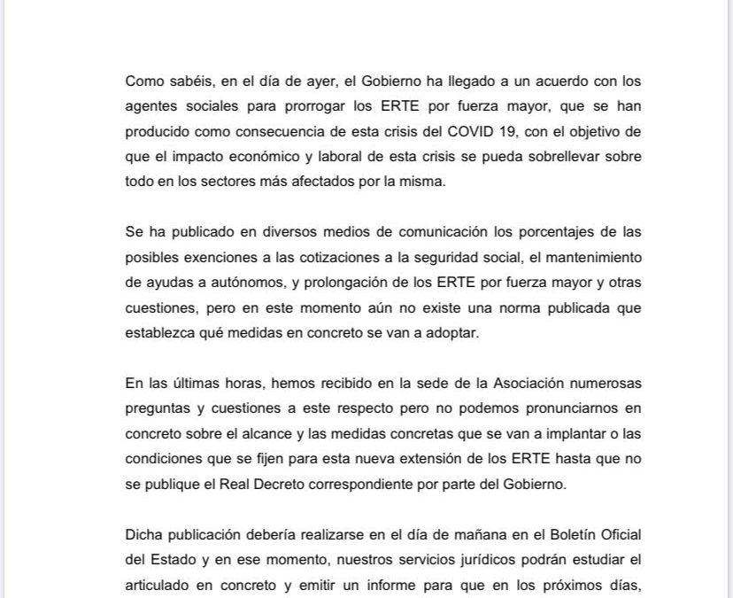 COMUNICADO DE LA ASOCIACIÓN GREMIAL SOBRE LA PRÓRROGA DE ERTES