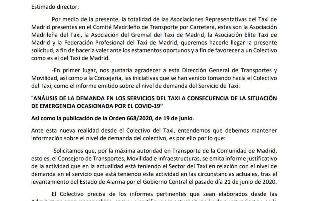 PETICIÓN DE LAS ASOCIACIONES REPRESENTATIVAS DEL SECTOR DEL TAXI AL DIRECTOR GENERAL DE TRANSPORTES Y MOVILIDAD