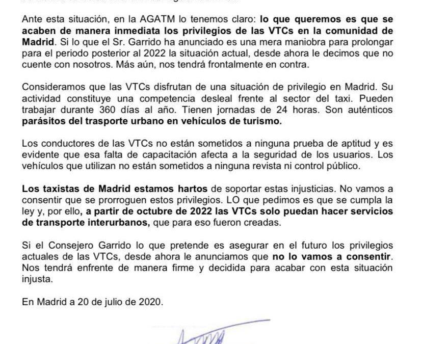 INFORMACIÓN A LOS TAXISTAS DE MADRID SOBRE LAS DECLARACIONES DEL CONSEJERO DE TRANSPORTES