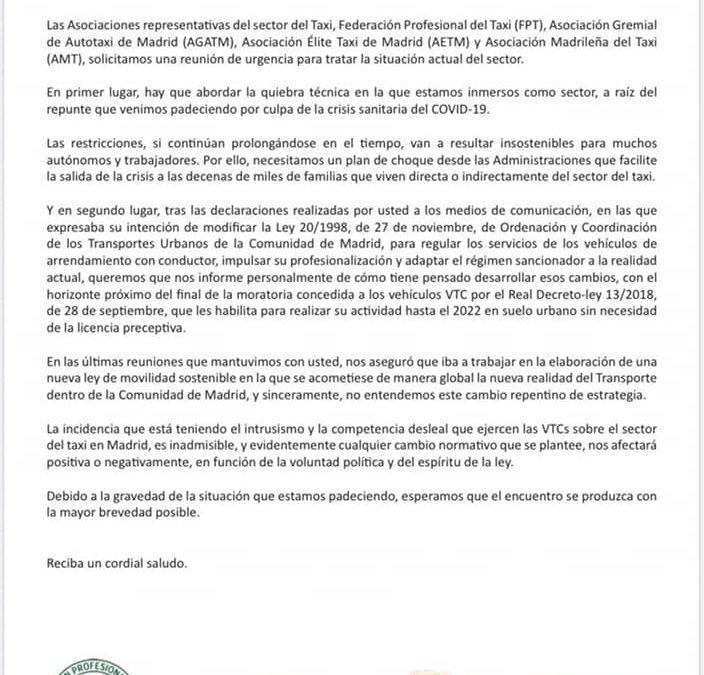 LAS ASOCIACIONES DEL TAXI EXIGEN UNA REUNIÓN DE URGENCIA AL CONSEJERO DE TRANSPORTES DE LA COMUNIDAD DE MADRID