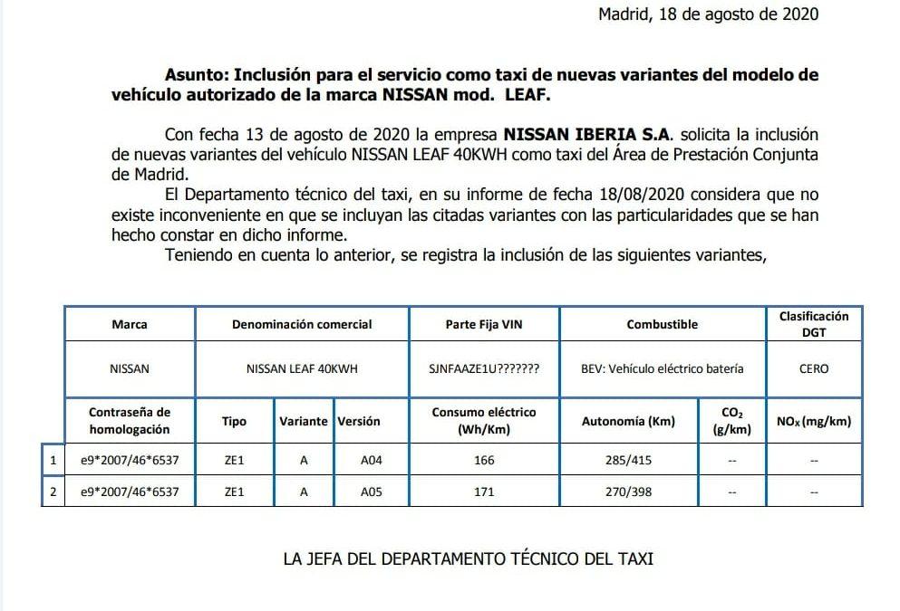 Inclusión para el servicio como taxi de nuevas variantes del modelo de vehículo autorizado de la marca NISSAN LEAF
