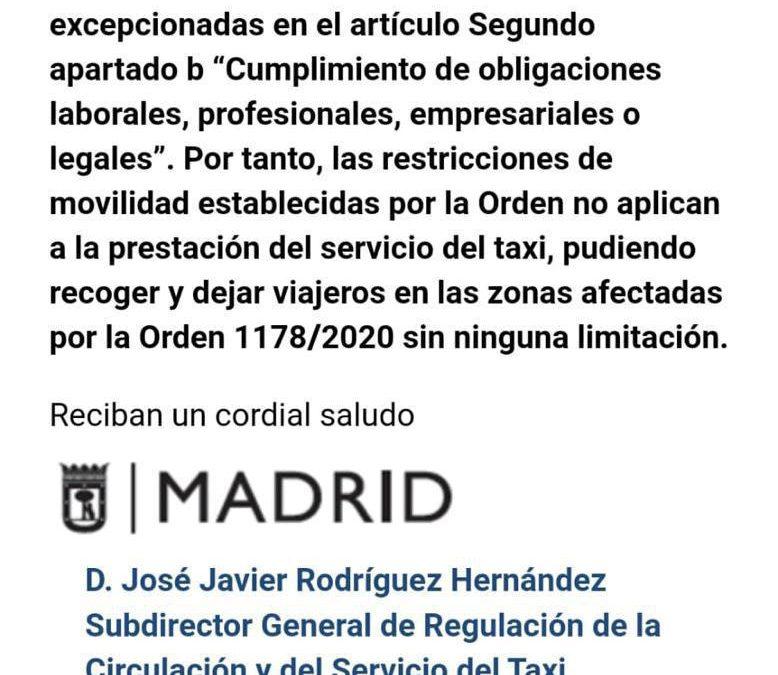 URGENTE: Aclaración sobre la aplicación al servicio del taxi de la ORDEN 1178/2020, de 18 de septiembre, de la Consejería de Sanidad