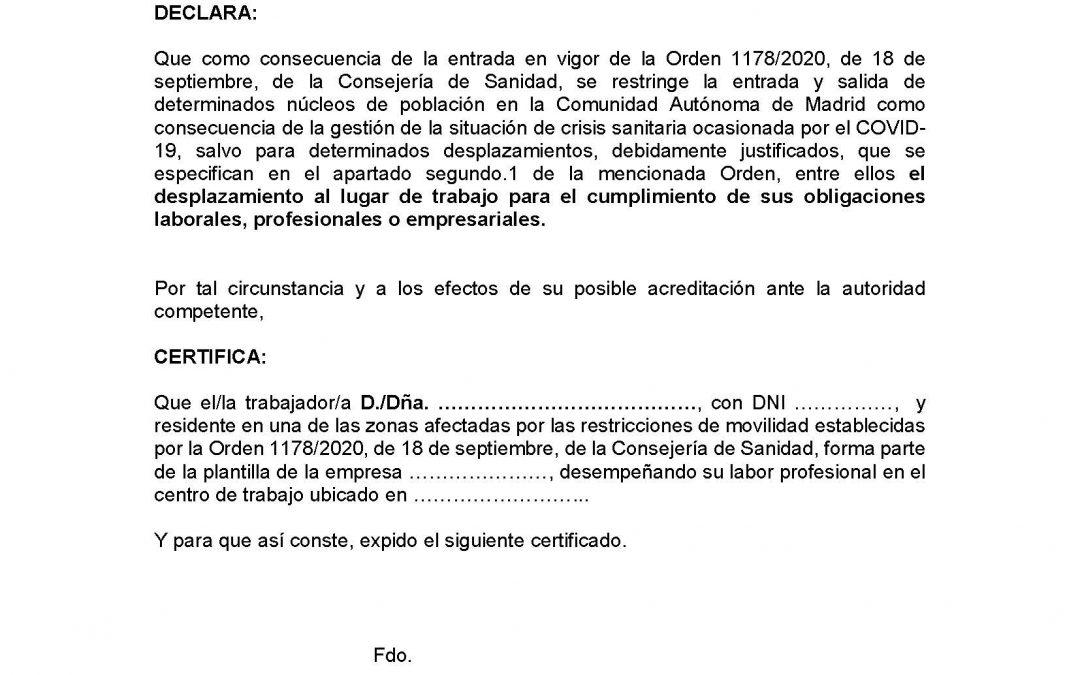 Descarga el certificado que justifica la entrada y salida de las 37 zonas sanitarias con la movilidad restringida