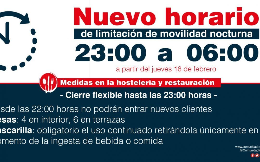 LA COMUNIDAD DE MADRID CONFIRMA EL RETRASO DEL TOQUE DE QUEDA A LAS 23 HORAS A PARTIR DEL JUEVES 18 DE FEBRERO