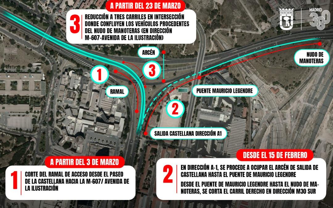 EL 3 DE MARZO SE PROCEDE AL CORTE DEL RAMAL DESDE CASTELLANA HACIA LA M-607/AVENIDA DE LA ILUSTRACIÓN