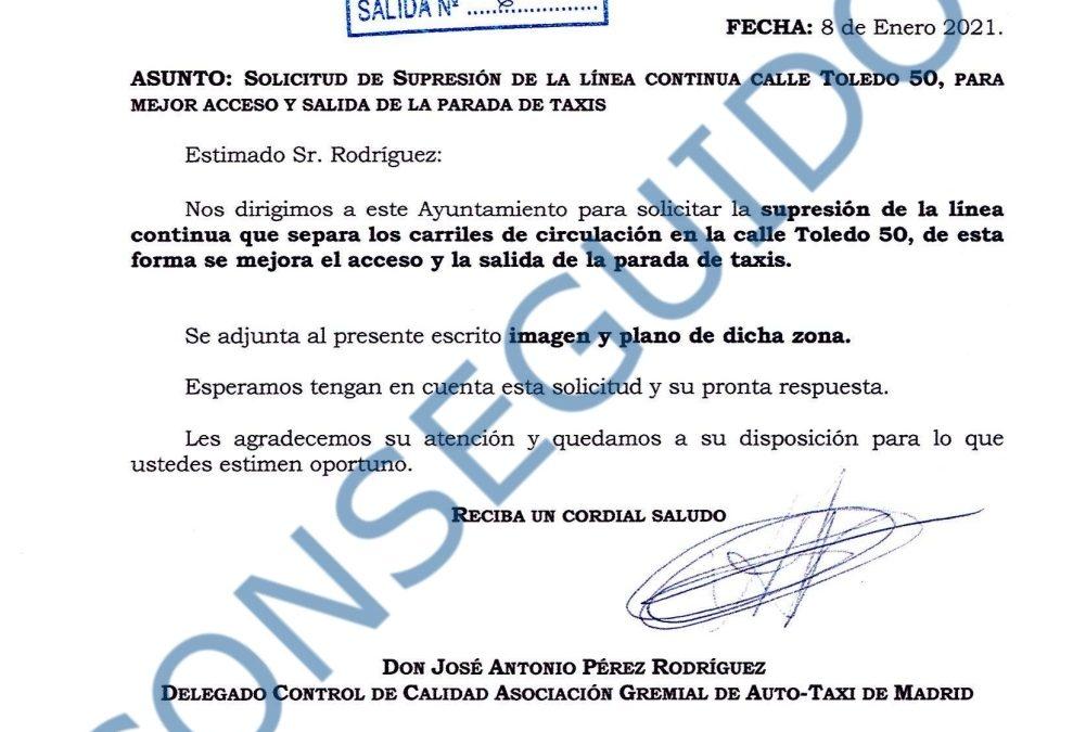 SUPRESIÓN DE LA LÍNEA CONTINUA EN LA CALLE DE TOLEDO, 50