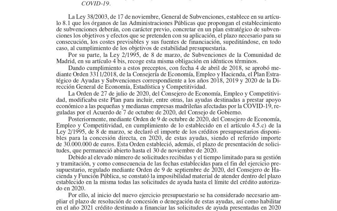 LA COMUNIDAD DE MADRID AMPLÍA EL CRÉDITO DESTINADO A FINANCIAR LAS SOLICITUDES DE AYUDA DE PEQUEÑAS Y MEDIANA EMPRESAS PRESENTADAS EN 2020 QUE SE ENCUENTRAN PENDIENTES DE RESOLUCIÓN