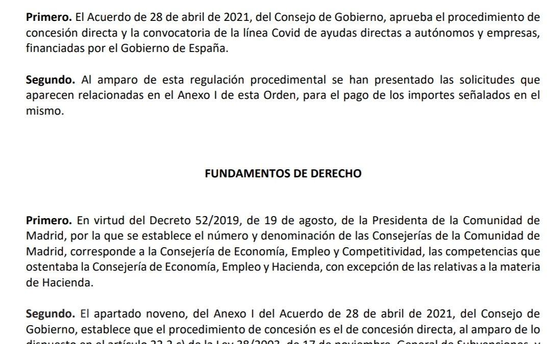 📢ATENCION📢LISTADO DE BENEFICIARIOS DE LAS AYUDAS LINEA COVID QUE GESTIONA LA COMUNIDAD DE MADRID CON FONDOS ESTATALES