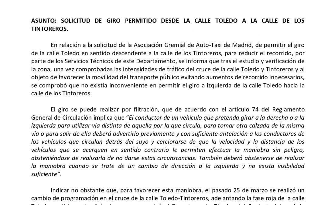 TOMA NOTA. GIRO PERMITIDO DESDE LA CALLE TOLEDO A LA CALLE TINTOREROS
