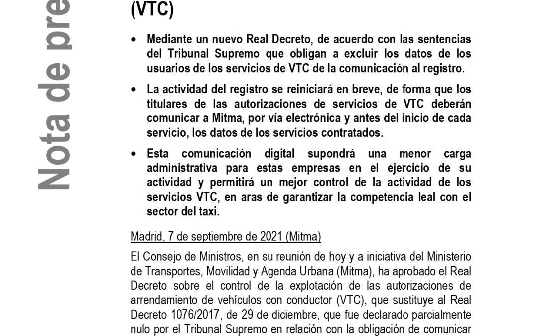 EL GOBIERNO DA VÍA LIBRE AL REGISTRO DE COMUNICACIONES DE LOS SERVICIOS DE VTC