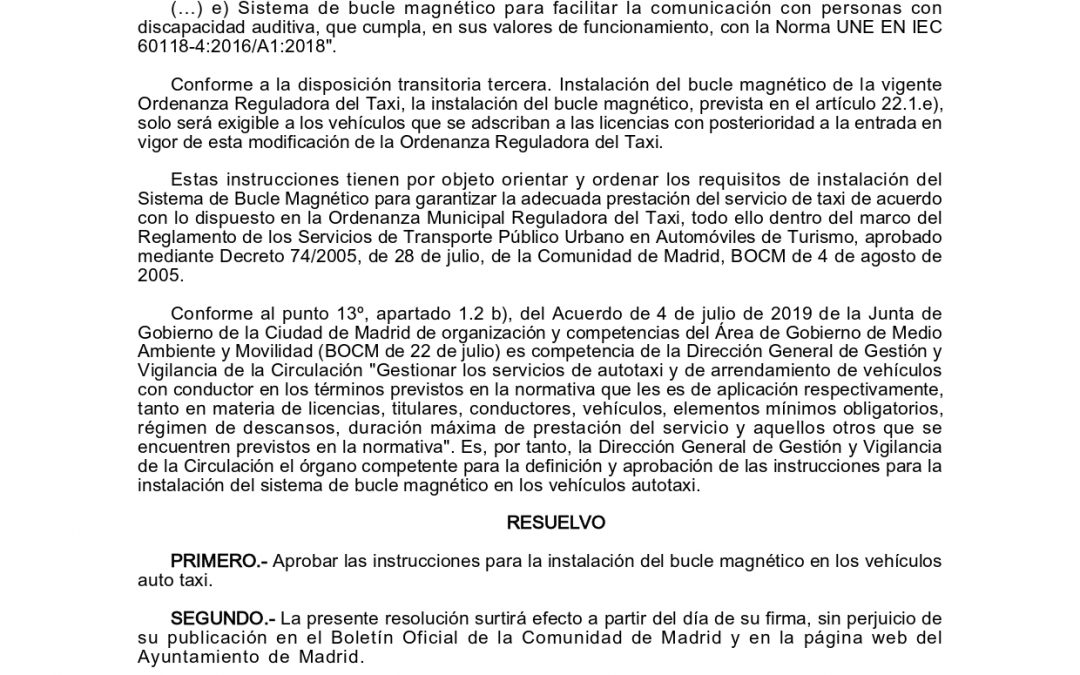 APROBACIÓN DE LAS INSTRUCCIONES PARA LA INSTALACIÓN DEL BUCLE MAGNÉTICO EN LOS VEHÍCULOS AUTOTAXI DE MADRID