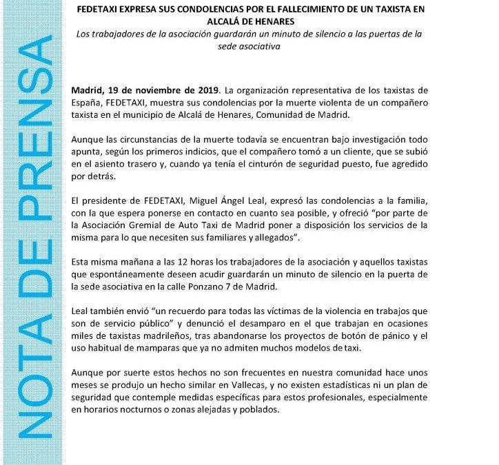 FEDETAXI EXPRESA SUS CONDOLENCIAS POR EL FALLECIMIENTO DE UN TAXISTA EN ALCALÁ DE HENARES